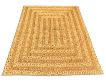 Indian Silk Brocade on Brocade Design Brown Color Double Bed Cover 260x240 CM