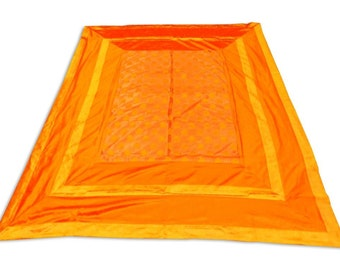 Hand Made Indian Silk Brocade Design Orange Color Double Bed Cover 260x240 CM