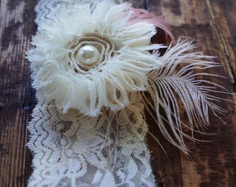 Ivory Lace Headband with Ivory Flower Hair Clip with Feathers & Pearls, Shabby Chic Flower Alligator Hair Clip, Flapper Feather Headband