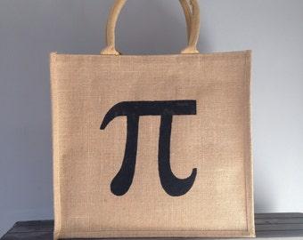 Pi symbol hand painted jute shopping bag- large. Greek letter math mathematics Burlap gift bag, hessian tote bag, constant ratio