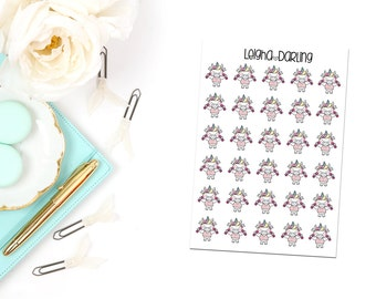 Weight Lifting Unicorn Planner Stickers