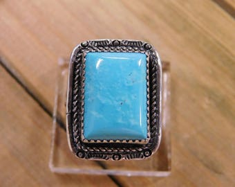 Vintage Sterling Silver Rectangular Turquoise Ring Size 10