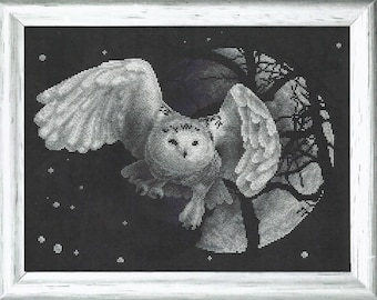 Counted Cross Stitch Kit White Owl art. J-0359