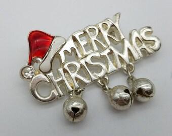 Merry Christmas Silvertone Brooch with Dangling Silver Bells & Santa Hat