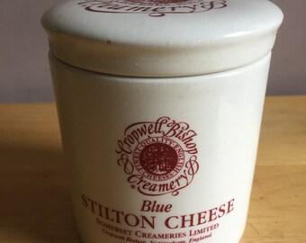 Blue Stilton Cheese Vintage Ceramic Pot - Cropwell Bishop Creamery - Somerset Creameries Ltd, Nottingham, England