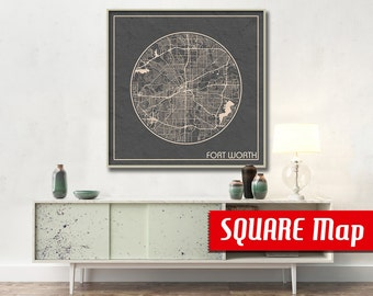 Fort Worth TX SQUARE Map Fort Worth Texas Poster City Map Fort Worth Texas Art Print Fort Worth Texas poster Fort Worth Texas map