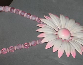 Flower Power Pink and White Vintage Brooch Necklace