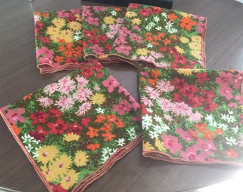 "Set of 5 mod floral napkins, 16"". Free shipping!"