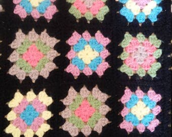 Vintage Black and Pink Granny Square Afghan Lap Blanket Throw Coverlet Handmade Knitted Crochet