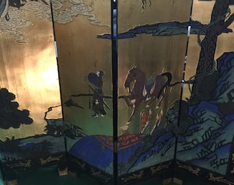 RARE Late 19th century Coromandel Hand Painted and Gilded 6 Panel Screen