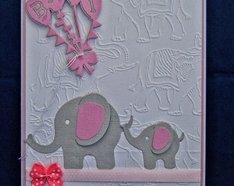 Handmade Baby Girl Card , baby card,newborn card,baby girl card,congratulations card, baby Elephant embellishments,baby announcement,