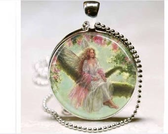 Fairy fairies faeries fantasy magic witchcraft Halloween glass cabochon pendant necklace