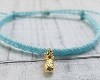 Gold Pineapple Bracelet, Blue Fishtail Bracelet, Waterproof Bracelet, Dainty Pineapple Bracelet