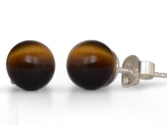 Tiger eye gemstone earrings, natural, round, 5 mm
