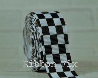 "2 + yards 3/8"", 7/8"", or 1.5"" White & Black Checker Print Grosgrain Ribbon - US Designer - Checkered Flag - Racing Bows - Race Car Party"
