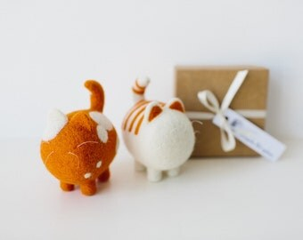Two cute toys, ginger cats, wool felted cats, natural baby gift, wool cats, needle felted animal, collectible miniatures, orange nursery