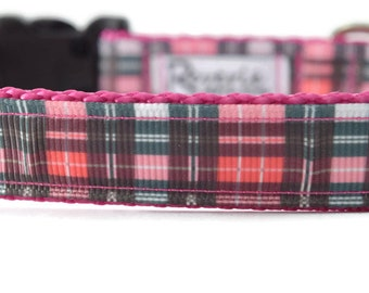 Plaid Dog Collar, pink dog collar, pink plaid dog collar, cute dog collar, pretty dog collar, plaid dog collar, pink and black dog collar