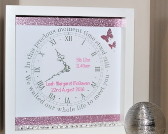 Personalised newborn baby girl, gift, keepsake,nursery decor, 3d shadow box frame, pink, glitter, butterflies, clock, present, wall decor
