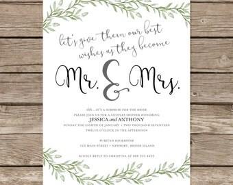 simple rustic invitation bridal wedding shower jack u0026 jill party greenery