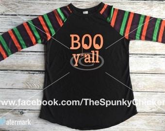 Halloween Boo Y'all Striped Sleeve Raglan Shirt