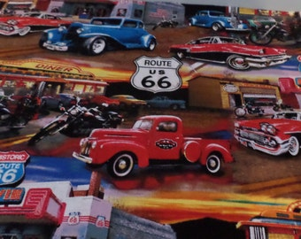 Route 66 Hot Rods Fabric, Smokin Hot Fabric!, 100% Cotton/ 33 inches