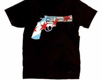 Chicago Gun Revolver Shirt - Chicago Flag Shirt - Revolvers Model 629 Shirt - Chicago Stars