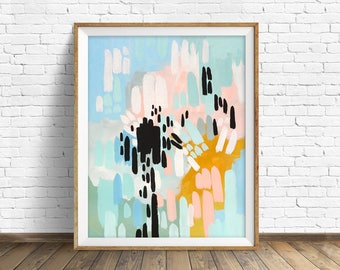 "colorful abstract wall art, large abstract wall art, pastel colors, abstract painting, instant download printable art, prints - ""Collisions"""
