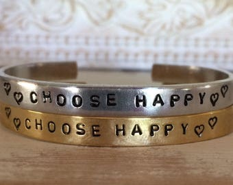 CHOOSE HAPPY, Personalized Cuff Bracelet Thin Stackable Custom Phrases Names Hand Stamped Jewelry Aluminum Brass Copper Personalized