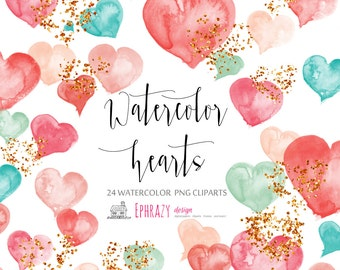 30% OFF AND MORE. Heart clipart. Heart clip art. Valentine clipart. Hearts clipart. Valentines day. Watercolor clipart. Watercolor hearts