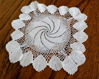 Crocheted Doily. Lace Doily. Small White Doily. Square Pinwheel Pattern Doily. Doily with Irish Crochet Lace Leaf Pattern Border RBT1118
