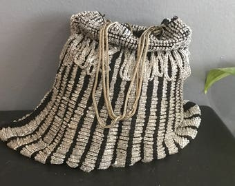 Victorian drawstring beaded Purse . Evening Handbag