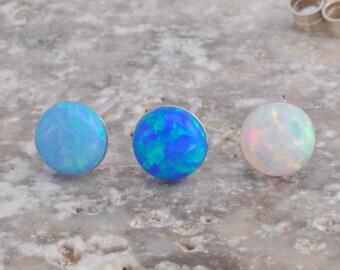 Opal Earrings, Opal Stud Earrings, Blue Opal Stud Earrings, White Opal Stud Earrings, Blue Opal Earrings ,Stud Earrings ,Opal Stud Earrings