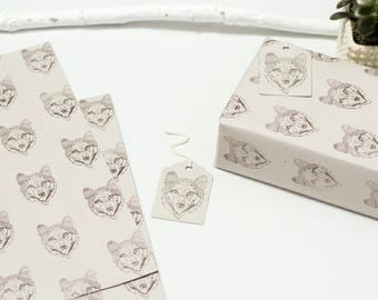 Sonya Tribal Wolf Wrapping Paper with Gift Tags (Brown Wolf)