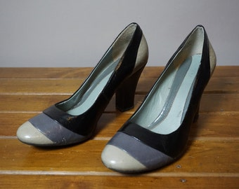 Kenneth Cole Gray Black Patent Leather Heels Size 7.5