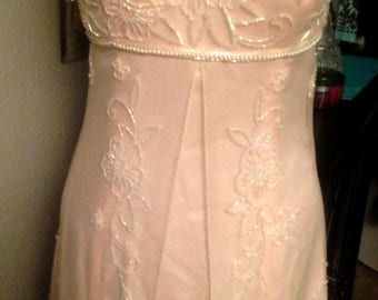 Amazing Strapless Beaded Gown in Peach by JOVANI