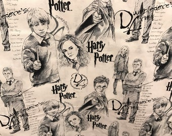 Harry Potter and characters fabric, movie fabric, licenced fabric, book fabric, cotton fabric, J.K. Rowling