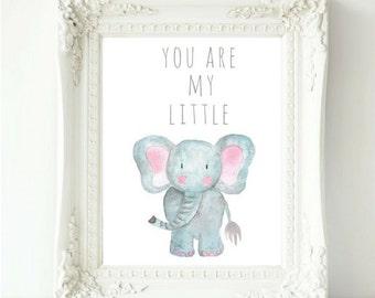You Are My Little Print, Watercolor Elephant Art, Safari Animal Nursery, Nursery Art Prints, Safari Nursery Ideas, Jungle Nursery