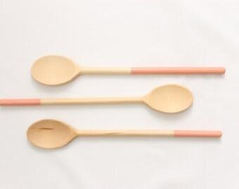 Coral Color Block Wooden Spoon