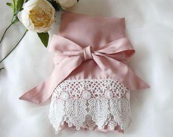 Light Blush Women Kimono Robe(with lace trims)-Bridesmaid Kimono Robe-bridesmaid Gift-wedding party bridal party Gift