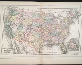 1894 Map of the United States & Territories, Original Hand-Colored Map, Large Antique Map