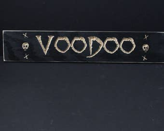 Wooden VooDoo Sign | Carved Voodoo Sign | New Orleans | Skulls