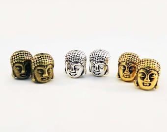 ISP05 - beads spacer silver Bronze gold Yoga Zen Meditation Buddha head / Buddha Head Spacer Beads Silver Bronze Gold Chakra