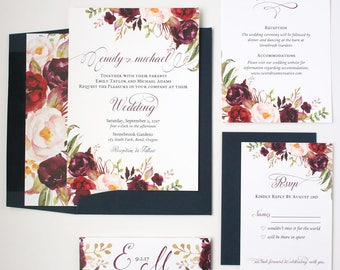 Navy Wedding Invitations - Burgundy & Navy - Wedding Invitations - Rustic Script Collection Sample Set