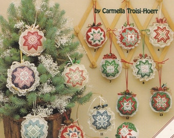 Folded Star Christmas Ornaments, American School of Needlework Cross Stitch Pattern Booklet 3533