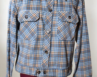 Authentic vintage 1970's Levi's Panatela Sportswear Corduroy plaid checkered button down jacket men's size medium
