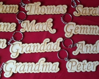 personalised rustic wood wooden wedding table place name settings keyring favours gifts birthday