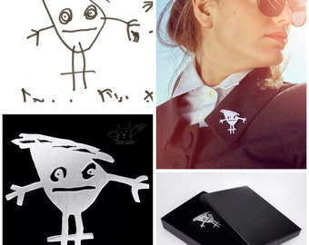 Personalized custom made sterling silver brooches & lapel pins from your children's drawings