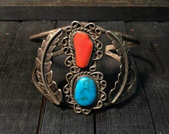 Vintage Navajo Sterling Silver/ Turquoise & Red Coral Cuff Bracelet   #149