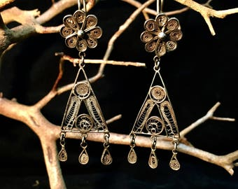 Vintage Sterling Silver Dangle Filigree Earrings   #255
