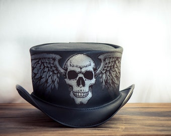 Poet's Revenge Leather Top Hat